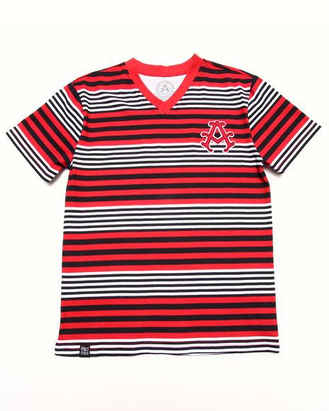 Akademiks - Boys Red Stripe V-Neck Tee (8-20)