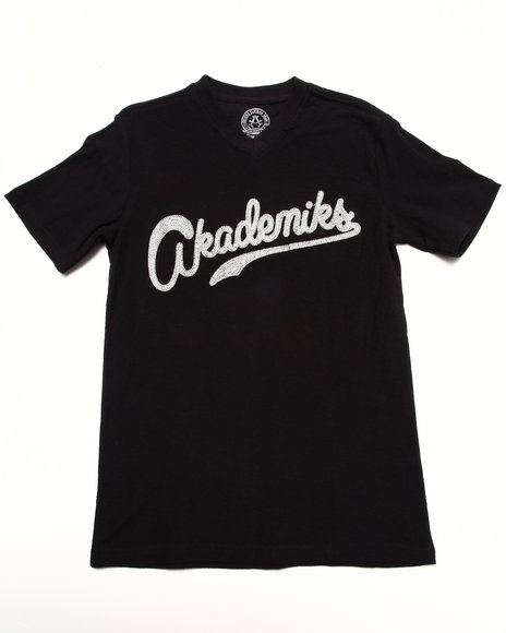 Akademiks - Boys Black Slub V-Neck Tee (8-20)