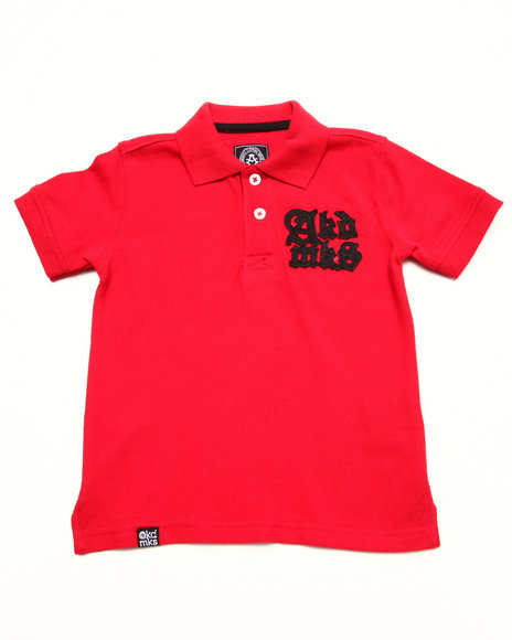 Akademiks - Boys Red Solid Pique Polo W/ Oversized Logo (2T-4T)