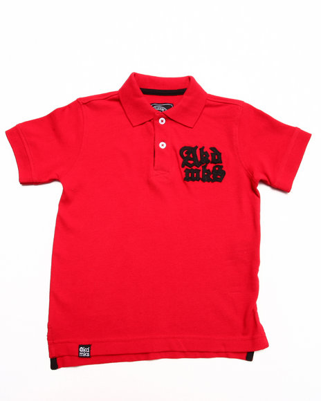 Akademiks - Boys Red Solid Pique Polo W/ Oversized Logo (4-7)
