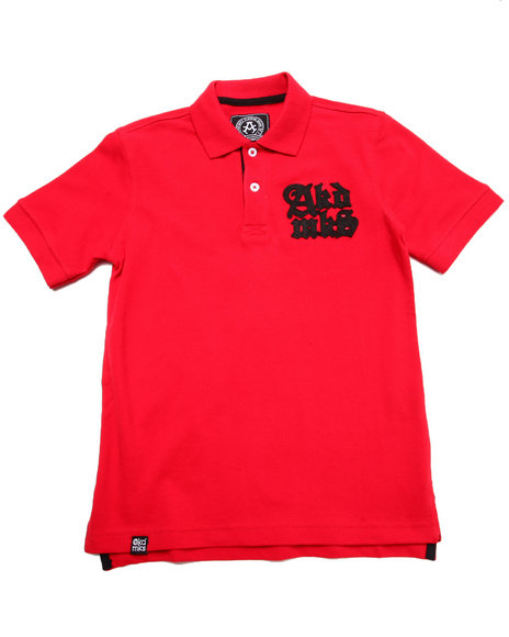 Akademiks - Boys Red Solid Pique Polo W/ Oversized Logo (8-20)