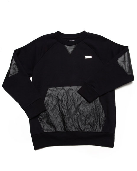 Akademiks - Boys Black L/S Crew Sweatshirt W/ Quilted Pu (8-20)
