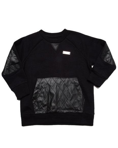 Akademiks - Boys Black L/S Crew Sweatshirt W/ Quilted Pu (2T-4T)