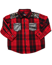 Tops - STUDDED PLAID SHIRT (2T-4T)