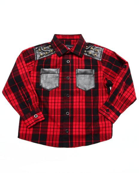 Akademiks - Boys Red Studded Plaid Shirt (4-7)