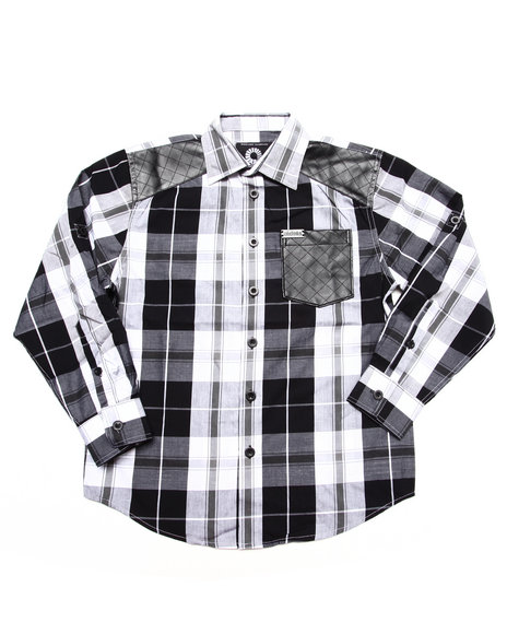 Akademiks - Boys Black Plaid Shirt (8-20)