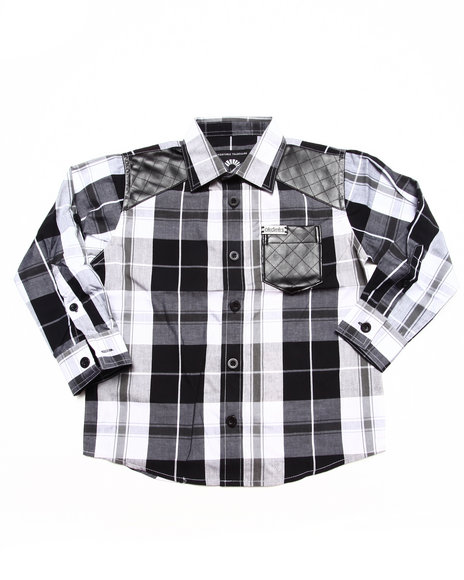 Akademiks - Boys Black Plaid Shirt (4-7)