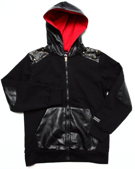 Akademiks - Boys Black Tartan Hoody W/ Pu Trim (8-20) - $35.99