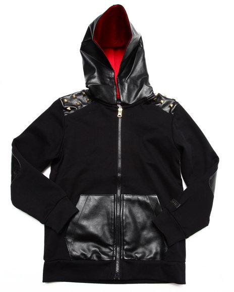 Akademiks - Boys Black Tartan Hoody W/ Pu Trim (4-7) - $23.99