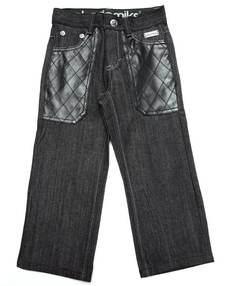 Akademiks - Boys Black Raw Jeans W/ Pu Pockets (4-7)
