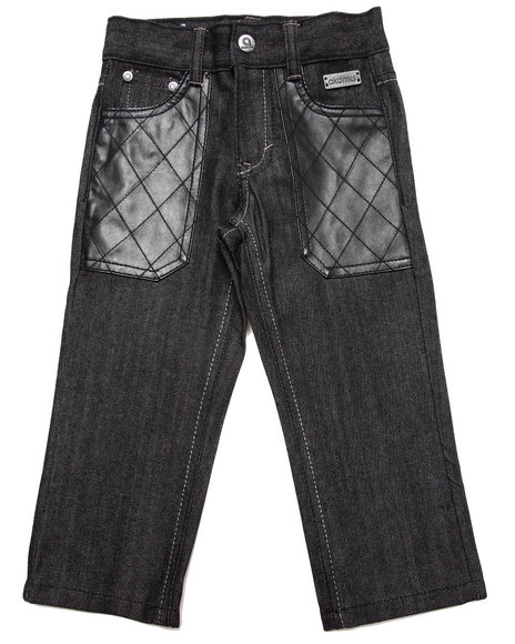 Akademiks - Boys Black Raw Jeans W/ Pu Pockets (2T-4T)