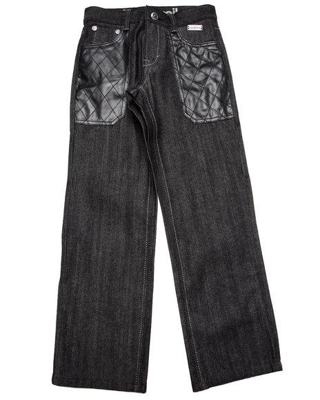 Akademiks - Boys Black Raw Jeans W/ Pu Pockets (8-20)