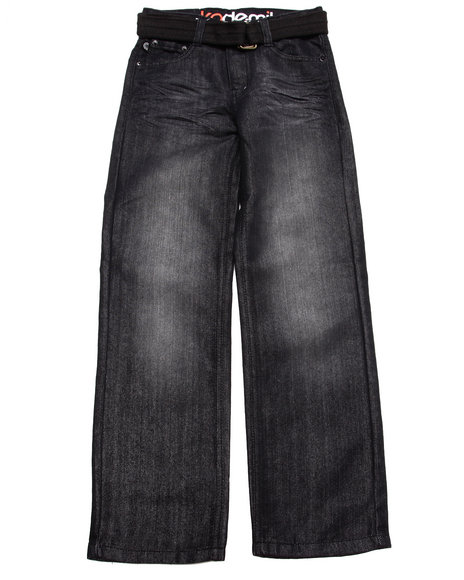 Akademiks - Boys Black Belted Distressed Jeans (8-20)