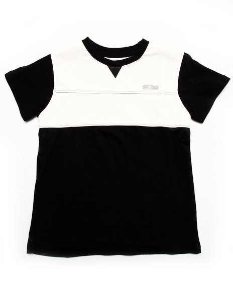 Parish - Boys Black Faux Leather & Mesh Tee (8-20) - $10.99