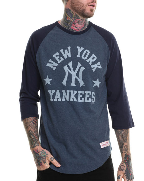 Mitchell & Ness - Men Navy New York Yankees Mlb  Media Guide Raglan