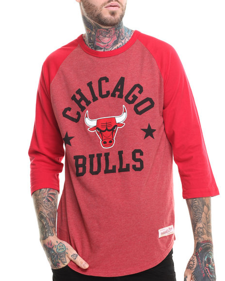 Mitchell & Ness - Men Red Chicago Bulls Nba Media Guide Raglan