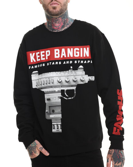 Famous Stars & Straps - Men Black Keep Bangin Crewneck Sweatshirt