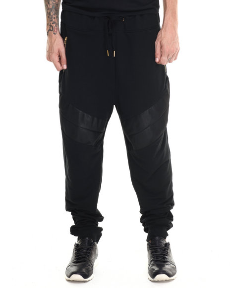 Buyers Picks - Men Black Cut & Sewn Faux Leather/Gold Zipper Detail Joggers