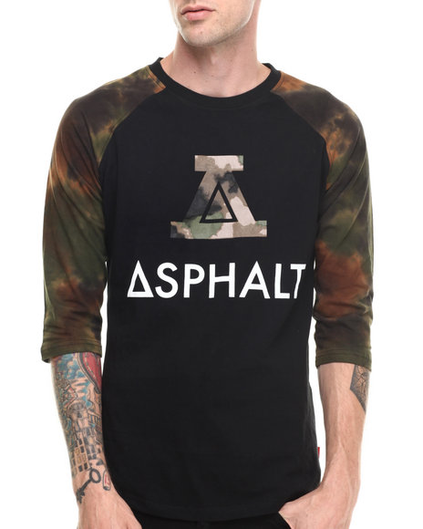 Asphalt Yacht Club - Men Camo Sky High Tie Dye Dither Raglan Tee