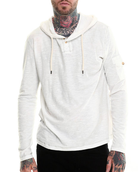 Buyers Picks - Men White Henley Pullover Hoody