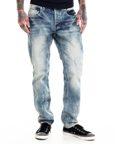 Parish - Men Dark Wash Washed Denim Jeans