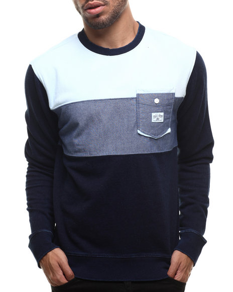 Parish - Men Navy Colorblock Sweatshirt