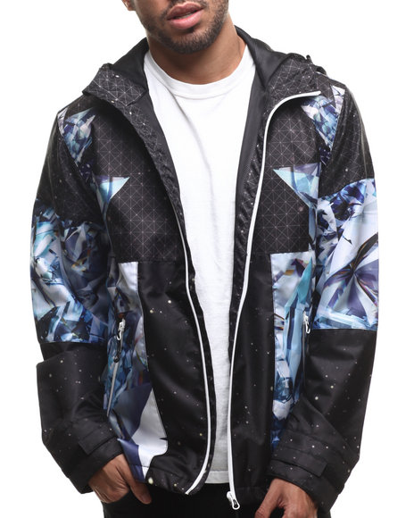 LRG - Men Black Dark Crystal Mesh - Lined Jacket