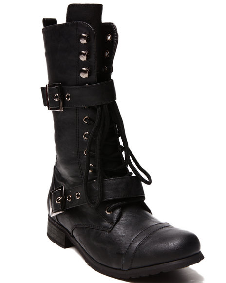 Fashion Lab - Women Black Kayla Lace Up Boot