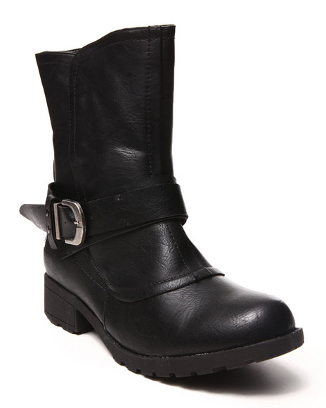 Fashion Lab - Women Black Malin Side Buckle Boot