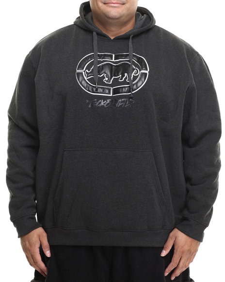 Ecko - Men Charcoal Faux Leather Weld Rhino Pullover Hoodie (B&T)