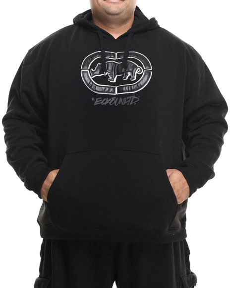 Ecko - Men Black Leather Weld Rhino Pullover Hoodie (B&T)