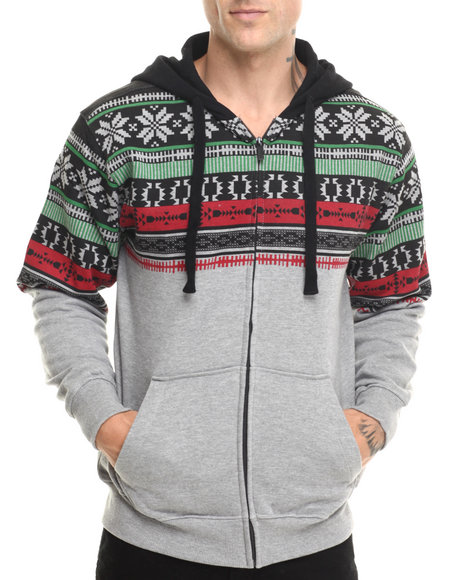 Basic Essentials - Men Grey Nordic Aztec Printed Zip-Up Hoodie