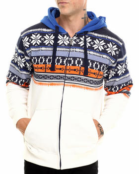 Basic Essentials - Nordic Aztec Printed Zip-Up Hoodie
