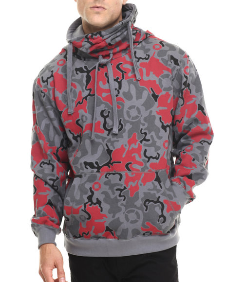 Basic Essentials - Men Grey Artillery Camo Printed Fleece Hoodie