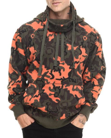 Basic Essentials - Men Olive Artillery Camo Printed Fleece Hoodie - $19.99