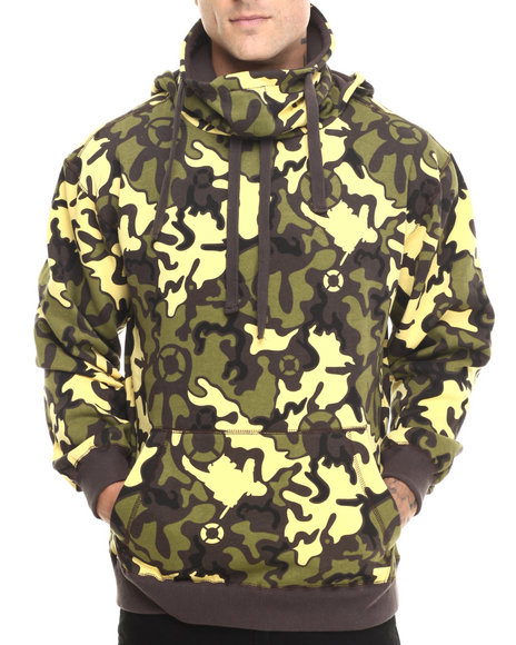 Basic Essentials - Men Brown Artillery Camo Printed Fleece Hoodie
