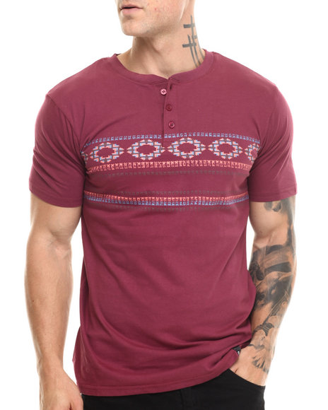 Basic Essentials - Men Maroon Tegan Henley S/S Tee