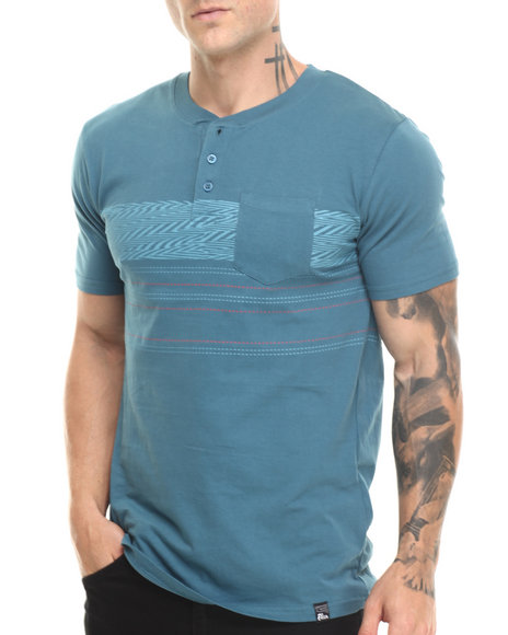 Basic Essentials - Men Blue Tegan Henley S/S Tee