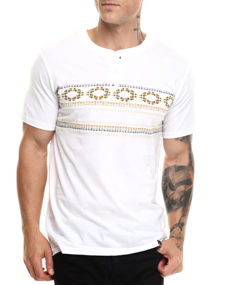 Basic Essentials - Men White Tegan Henley S/S Tee