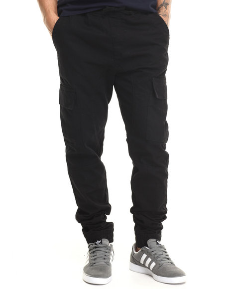 Basic Essentials - Men Black Tactical Cargo Twill Jogger