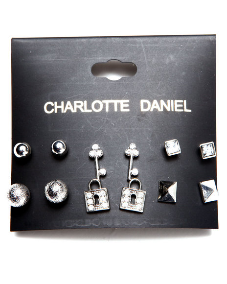 Drj Accessories Shoppe Women 6-Pair Novelty Stud Card Set Silver