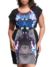 Baby Phat - Peacock Print Cutout Dress (Plus)