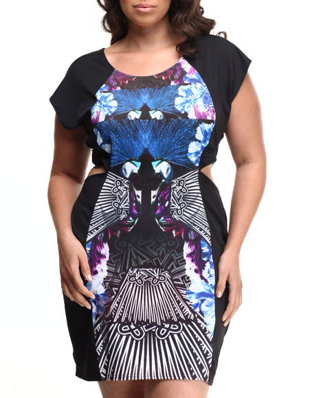 Baby Phat - Women Multi Peacock Print Cutout Dress (Plus)