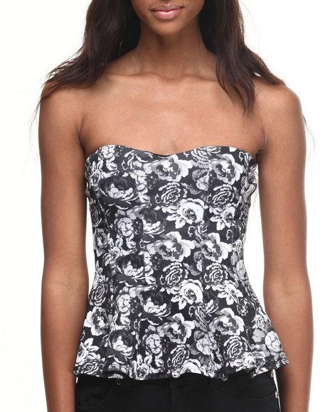 Ali & Kris - Women Black,White Floral Print Peplum Bustier Top