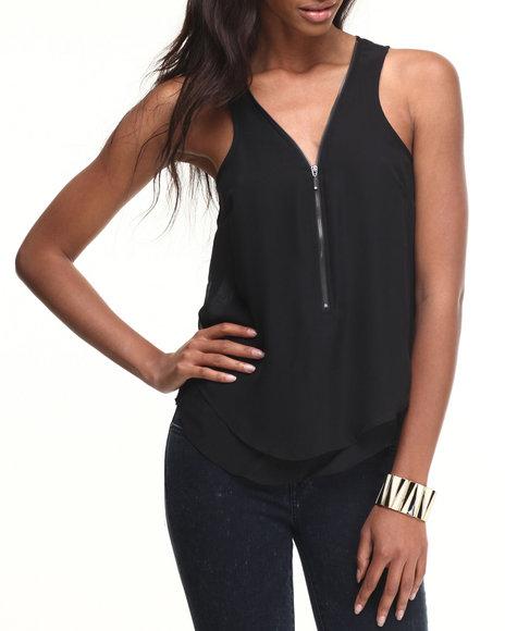 Ali & Kris - Women Black Zipper Front Chiffon Sleeveless Top