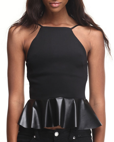 ALI & KRIS - Vegan Leather Trim Peplum Top