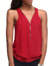 ALI & KRIS - Zipper Front Chiffon Sleeveless Top