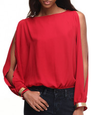 Fashion Tops - Open Sleeves Bracelet Cuff Kimono Chiffon Top
