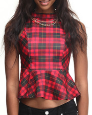 ALI & KRIS - Necklace Halter Plaid Peplum Top