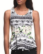 Fashion Tops - Aztec Floral Peplum Top